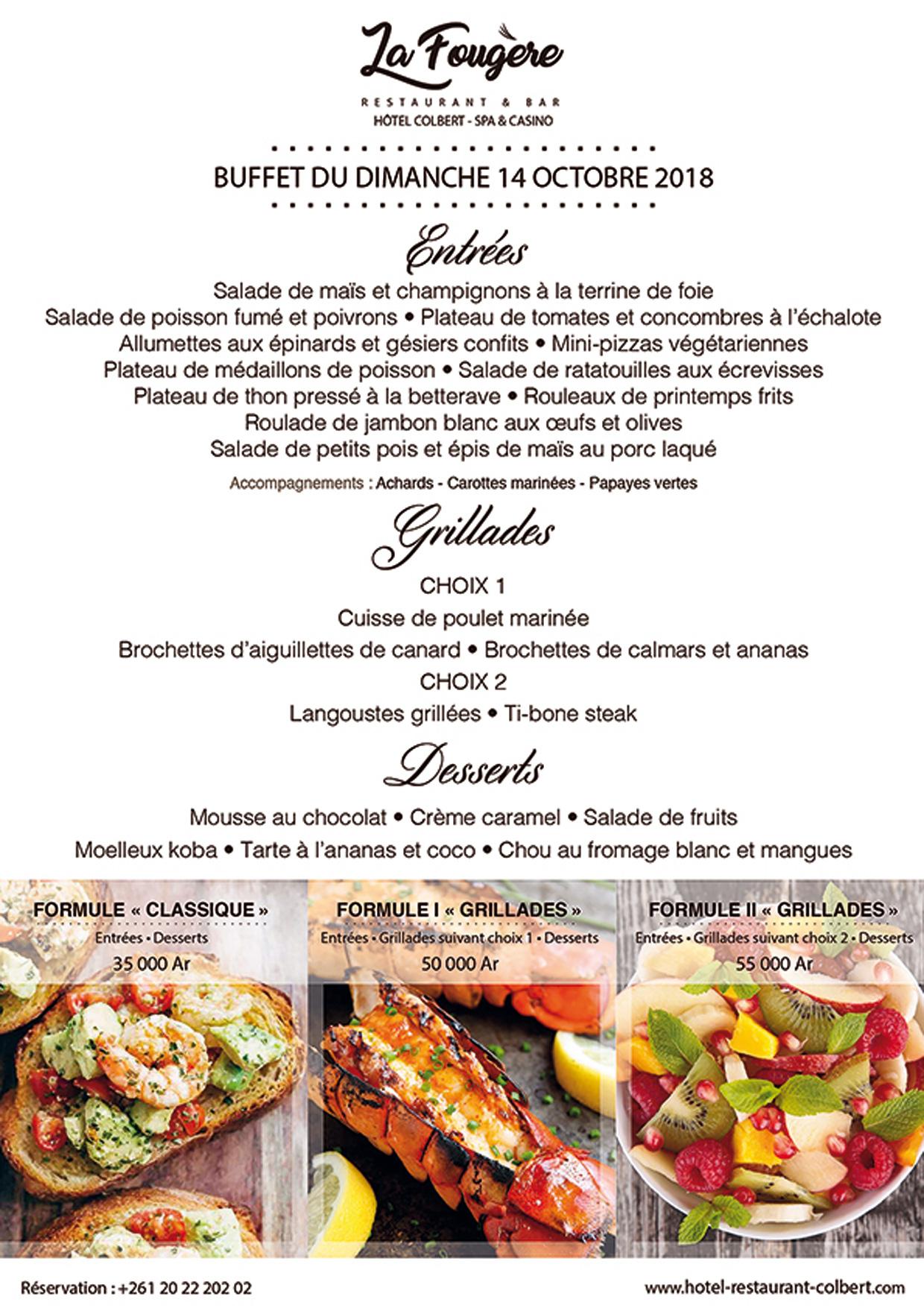La Fougère: Sunday, October 14, 2018 buffet
