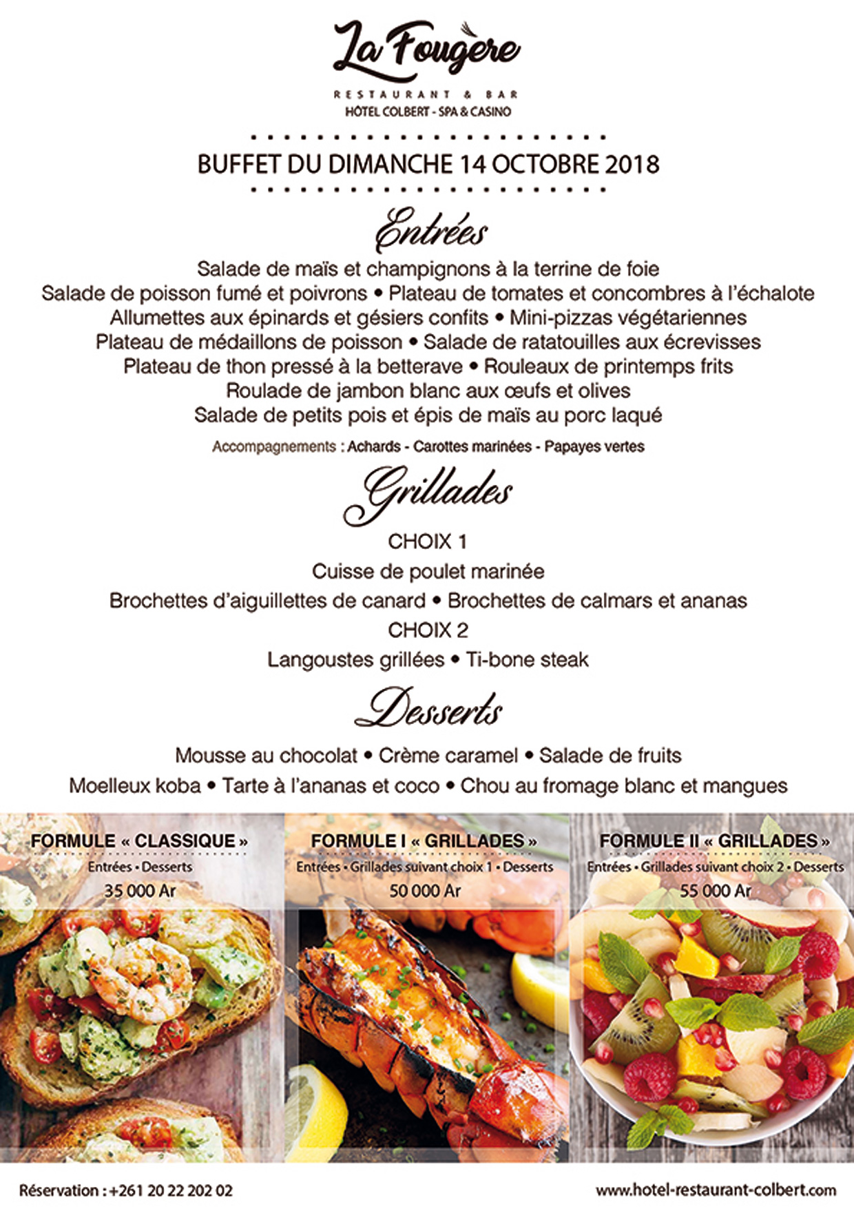 La Fougère: Buffet du Dimanche 14 Octobre 2018